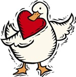 Valentine Duck with Heart T-shirts & Gifts