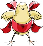 Easter Chick with Red Bow T-shirts & Gifts