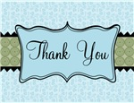 Blue and Green Flowered Thank You Notes Gifts