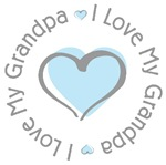 I Love my Grandpa Blue Heart T-shirts Gifts