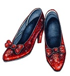 The glittery Ruby Red Slippers from the Wonderful Wizard of Oz brings back fond memories of both the book by Frank Baum and the movie.  Show your love for Oz with this great pair of Ruby Red Shoes.