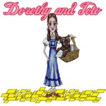 Dorothy and Toto stand on the Yellow Brick Road in the design inspired by L. Frank Baum's the The Wonderful Wizard of Oz.