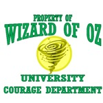 Property of Wizard of Oz University Courage Department in emerald green complete with a swhirling tornado.  Show your love for the Wizard of Oz by joining the Wizard of Oz University Courage Department with the Cowardly Lion as your dean.