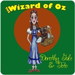 Dorothy Gale and Toto from the Wizard of Oz in the style of the original Book Cover.