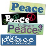 Peace Bumper Stickers ~ Peace bumper stickers. Cool stickers for your car, locker or home with anti-war logos promoting peace and harmony.
