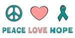 Ovarian Cancer Peace Love Hope T-shirts