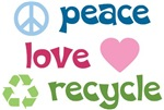 Peace Love Recycle Buttons