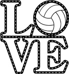 Love Volleyball Black