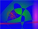 Transparent Green on Blue Background