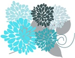 Cool Abstract Aqua Floral