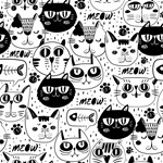 Funny Black and White Cat Cartoon