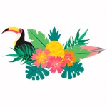 Tropical Hibiscus Floral Toucan Pineapple