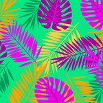 Hot Colors Tropical Leaves