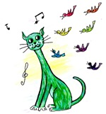 Green Funky Cat
