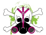 Skull & Crossbones with Pink Gas Mask