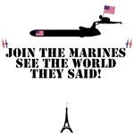 Funny USMC Shirts Anti French theme