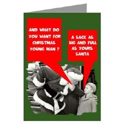 Humorous Greeting Cards with Santa's sack theme