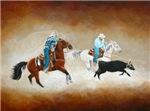 Rodeo Team Calf Roping Western Art