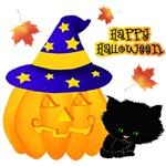Autumn Friends Happy Halloween Pumpkin & Kitten