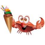 Crab Cartoon with Ice Cream
