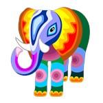 Elephant Rainbow Colors Patchwork