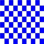 Blue and white checkerboard