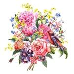 Summer Bouquet With Bird