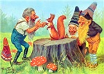 Gnomes Examine a Friendly Squirrel
