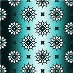 Pretty Gradient Turquoise Flower Pattern