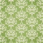 Cream Damask On Green Pattern