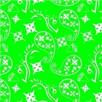 Lime Green and White Paisley Pattern