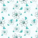 Pretty Turquoise Wispy Flowers and Butterflies