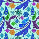 Blue Flowers and Flourishes