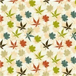 Green,Orange, and Blue Leaf Pattern