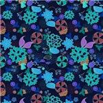 Blue, Purple, Burgundy Flower Pattern