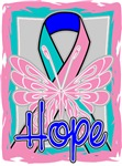 Hope Butterfly Thyroid Cancer Ribbon Shirts