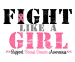 Fights Like a Girl Breast Cancer Awareness Shirts