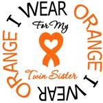 I Wear Orange Ribbon Twin Sister Leukemia Shirts