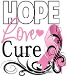 Hope Love Cure Floral - Breast Cancer Shirts