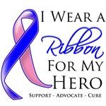 I Wear a Ribbon Hero Male Breast Cancer Shirts