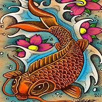 Koi Fish Art by Julie Oakes
