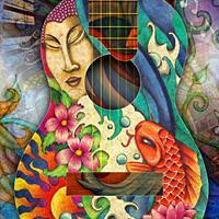 Buddha, Koi, Lotus Guitar