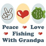 Peace Love Fishing With Grandpa Tees Gifts