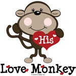 His Love Monkey Funny Valentine T shirt Gifts