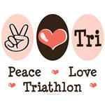 Peace Love Tri T-shirt Tees and Gifts