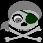 Gray Pirate Skull