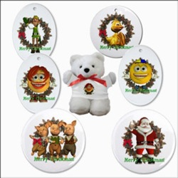 Christmas Ornaments, Buttons and a Bear