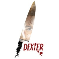 This design shows Dexter's eye peeking out from the reflection on a knife.  Creepy just like Dexter.