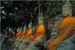 Row of Stone Budhas Mediatating