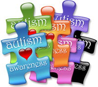 <b>Autism Awareness Puzzle Pieces with Heart</b>